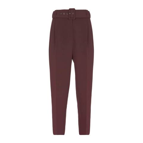 Mint Velvet Burgundy High Waisted Trousers