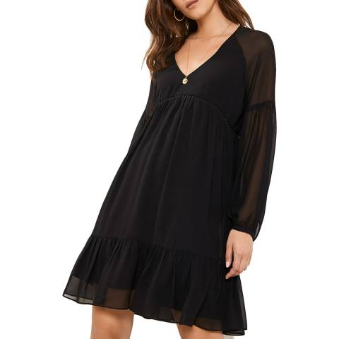 Mint Velvet Black Smock Mini Dress