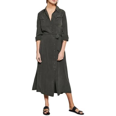 Mint Velvet Khaki Utility Midi Shirt Dress