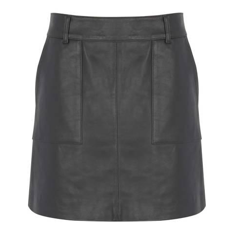 Mint Velvet Grey Leather Mini Skirt