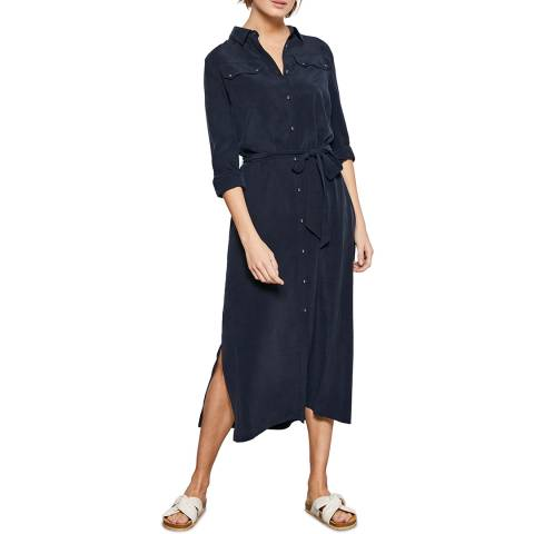 Mint Velvet Navy Belted Midi Shirt Dress