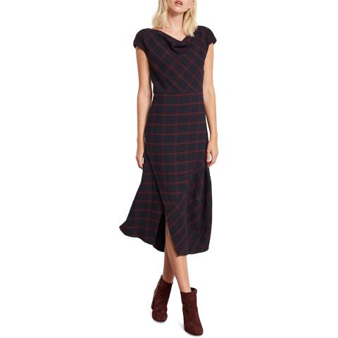Mint Velvet Ink Check Buttoned Hem Dress