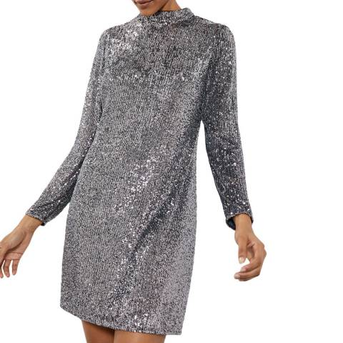 Mint Velvet Gunmetal Sequin Mini Dress