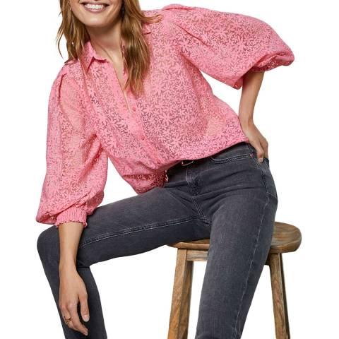 Mint Velvet Pink Floral Puff Sleeve Top