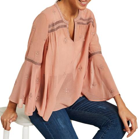 Mint Velvet Dusty Pink Embroidered Top