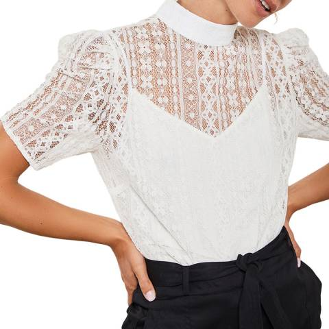 Mint Velvet Ivory Lace Puff Sleeve Top