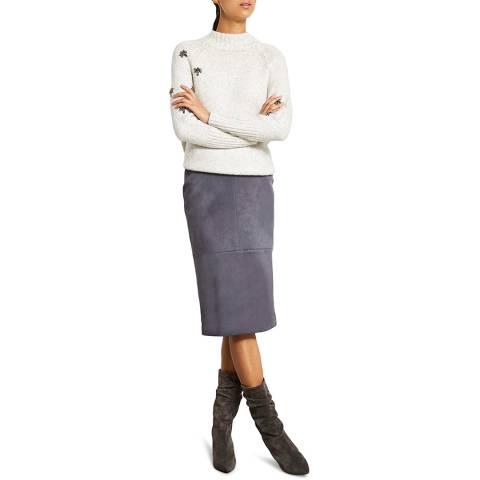 Mint Velvet Steel Suedette Pencil Skirt