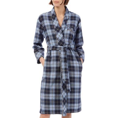 Cottonreal Super Y/Dye Flannel Check Grace Shawl Robe