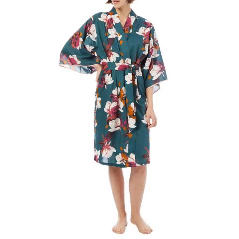 Cottonreal SuperLawn Grand Protea Flora 3/4 Slv JP Kimono Wrap
