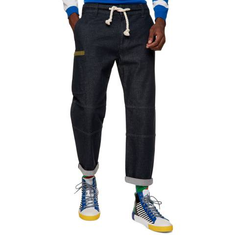 Benetton Dark Blue Straight Leg Trousers