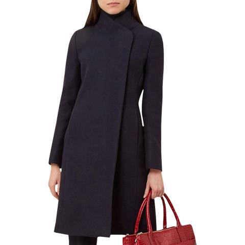 Hobbs London Navy Romy Wool Blend Coat
