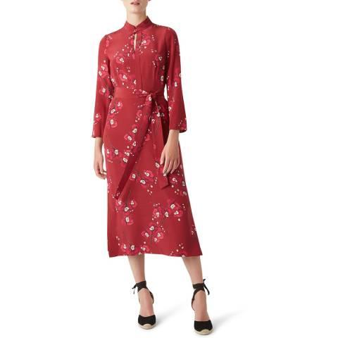 Hobbs London Burgundy Margot Silk Dress
