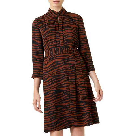Hobbs London Brown Print Lois Dress