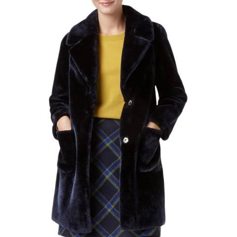 Hobbs London Navy Ioanna Faux Fur Coat