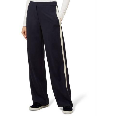Hobbs London Navy Stripe Isla Wool Blend Trousers