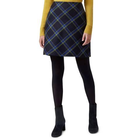 Hobbs London Navy Check Elea Skirt