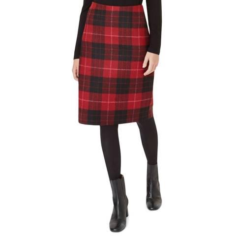 Hobbs London Red Check Daphne Wool Skirt
