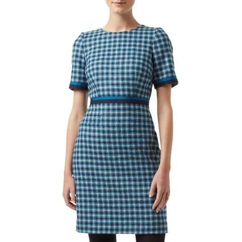 Hobbs London Blue Check Elodie Wool Dress