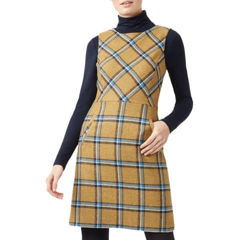 Hobbs London Beige Check Hattie Wool Dress