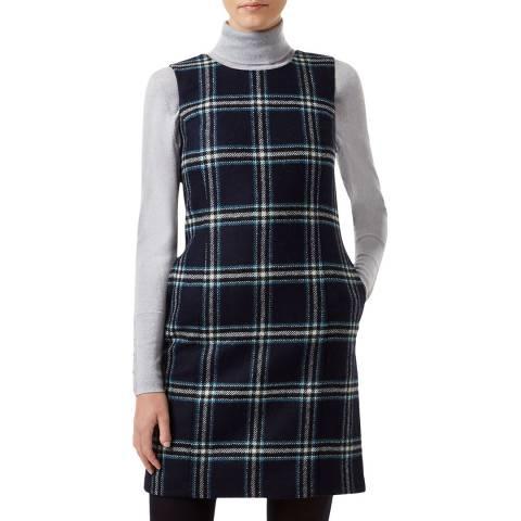Hobbs London Navy Check Robbie Wool Dress