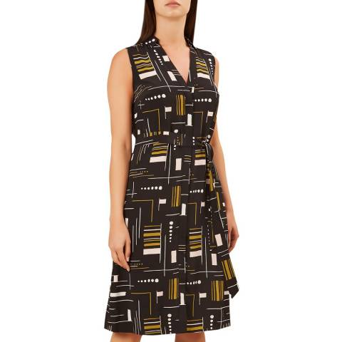 Hobbs London Black Print Cassandra Dress