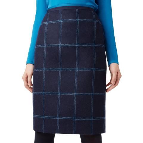 Hobbs London Navy Check Zeta Wool Skirt