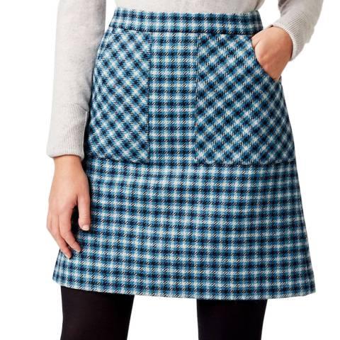 Hobbs London Blue Check Elodie Wool Skirt