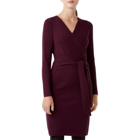 Hobbs London Burgundy Melissa Knit Wool Blend Dress