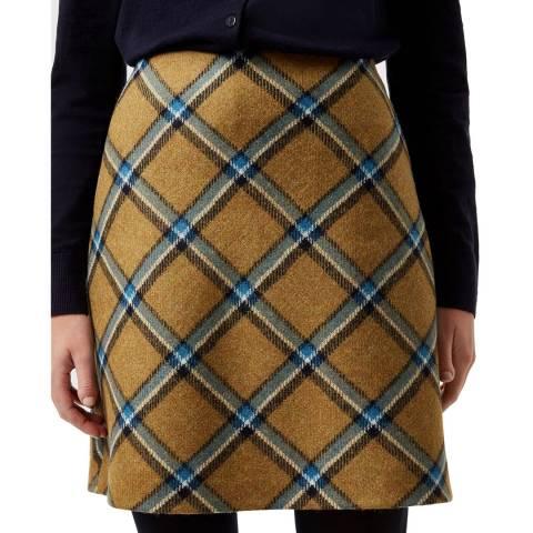 Hobbs London Beige Check Elea Wool Skirt