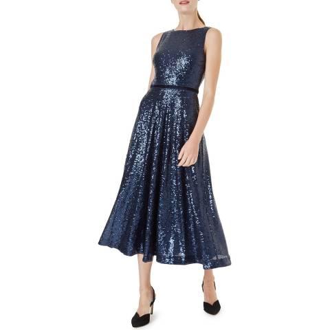 Hobbs London Navy Carly Sequin Dress