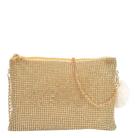 Sofia Cardoni Gold Crystal Crossbody Bag/Clutch