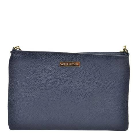 Anna Luchini Navy Leather Crossbody/Clutch Bag