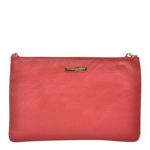 Anna Luchini Red Leather Crossbody/Clutch Bag