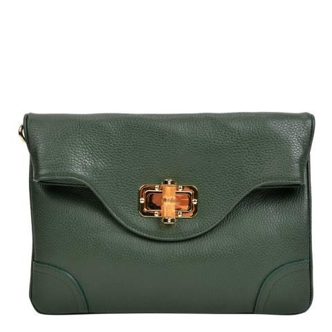 Isabella Rhea Green Leather Crossbody/Clutch Bag