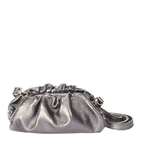 Giulia Massari Silver Leather Clutch Bag