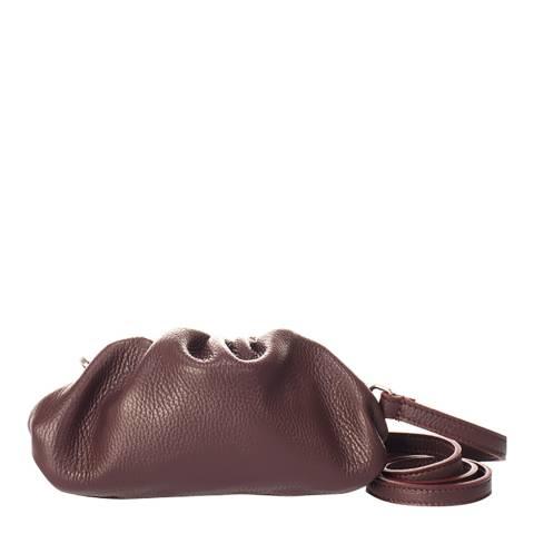 Giulia Massari Wine Leather Clutch Bag