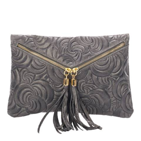Lisa Minardi Dark Grey Leather Clutch Bag