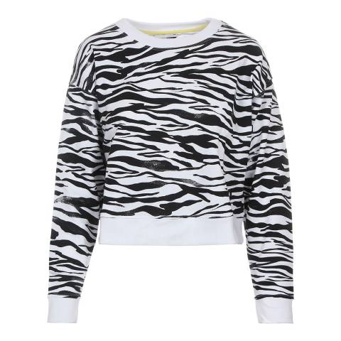 DKNY White Zebra Print Sweatshirt