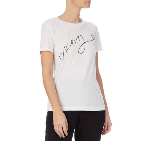 DKNY White Glitter Logo T-Shirt