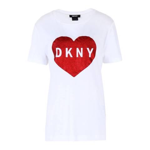 DKNY White/ Red Heart Glitter Logo T-Shirt