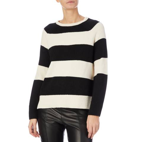 DKNY Black/White Mixed Yarn Jumper