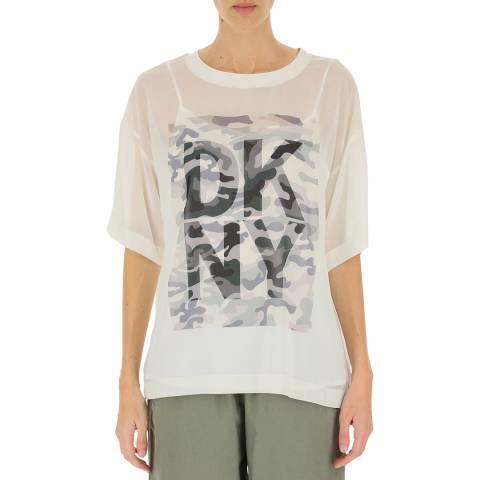 DKNY Ivory/ Camo Logo T-Shirt