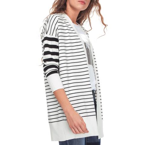 DKNY Black/White Open Front Cardigan