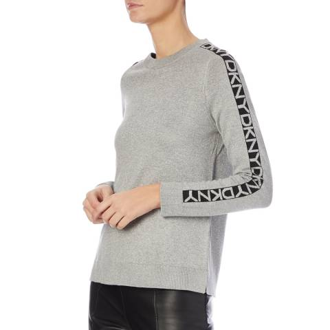 DKNY Grey Crew Neck Fitted Jumper