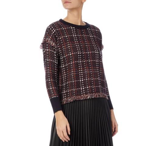 DKNY Multi Plaid Tweed Top