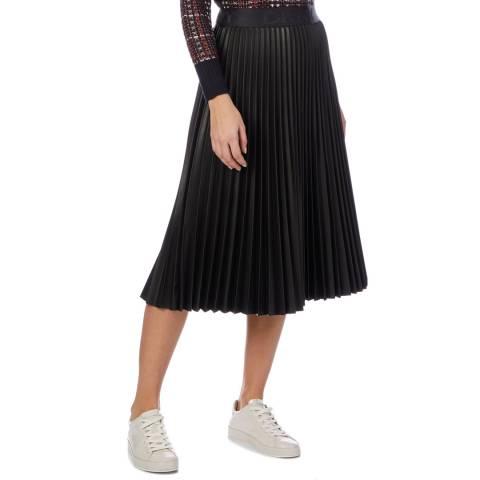 DKNY Black Pleated Midi Skirt