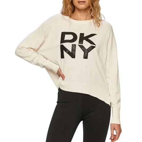 DKNY Ivory PU Logo Sweatshirt