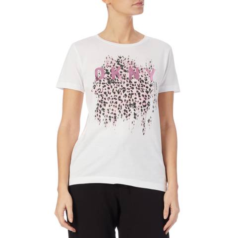 DKNY White Leopard Metallic T-Shirt