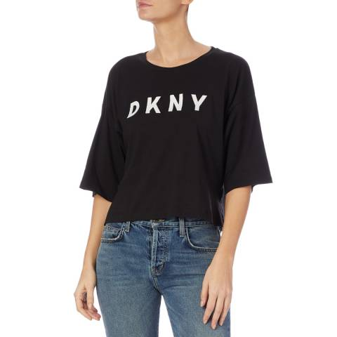 DKNY Black Cropped Oversized Top