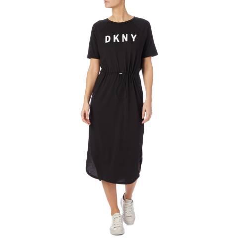 DKNY Black Logo Printed T-Shirt Dress